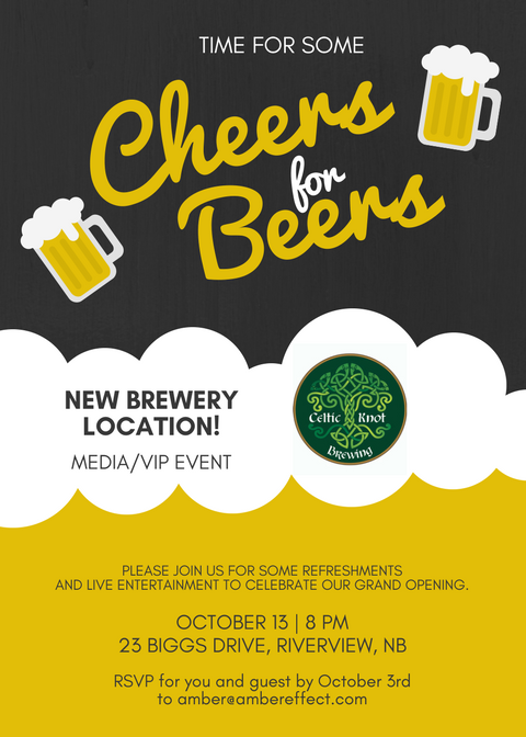 VIP Media Grand Opening Beer Cheers Invitation Riverview Dieppe Moncton NB