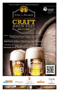 visual image of two beer mugs with event details and sponsors